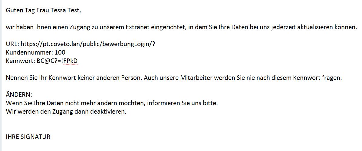 Anleitung Bewerber Extranet Coveto